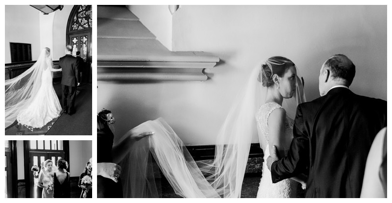 A bride waiting in the vestibule of the church before her walk down the aisle.