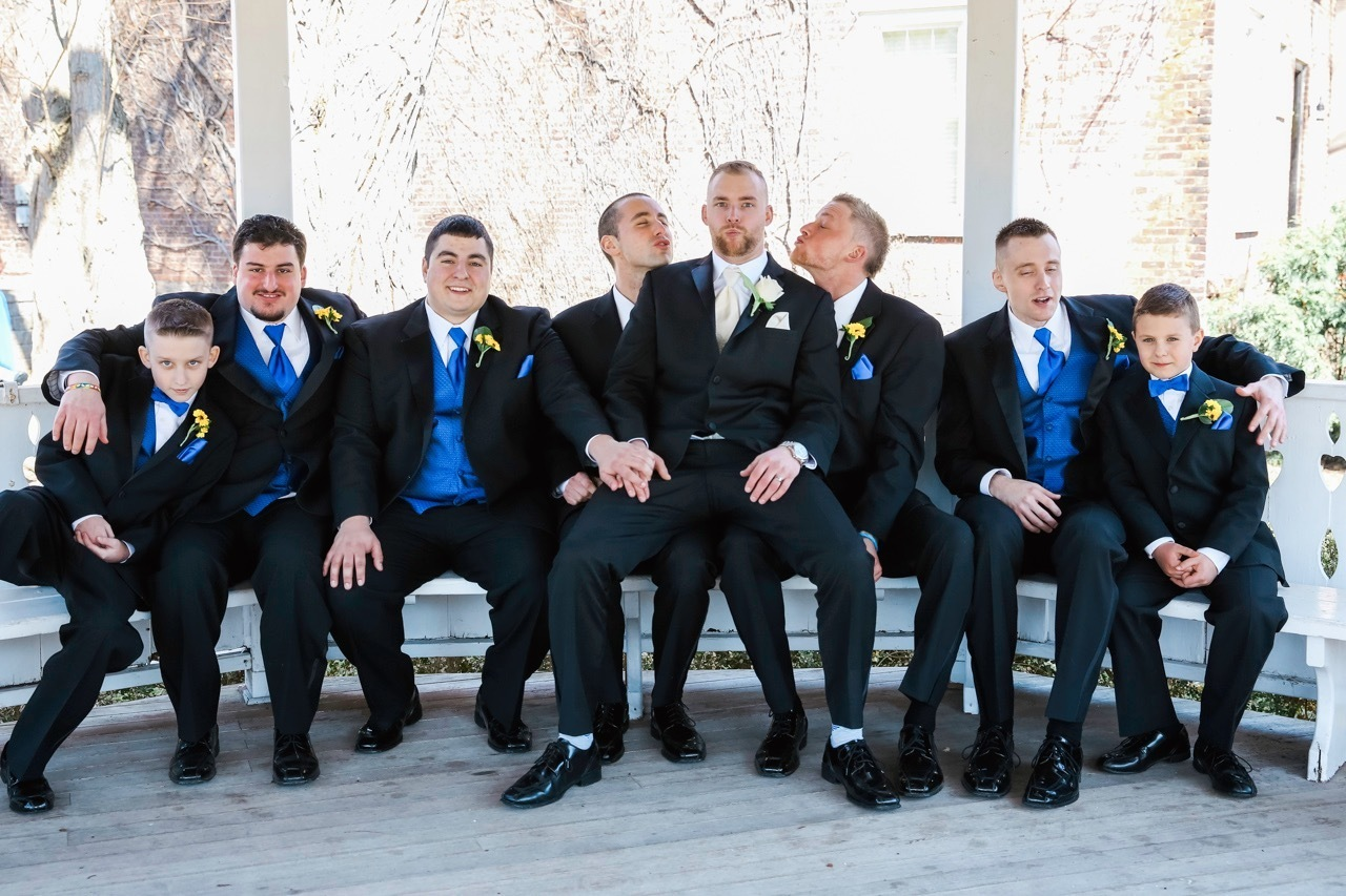 A groom and his groomsmen hang out in Lewiston, NY