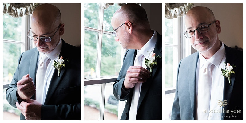 Groom getting ready for his wedding, Roswell, GA