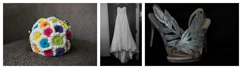 Wedding Bouquet, wedding dress, and wedding shoes.