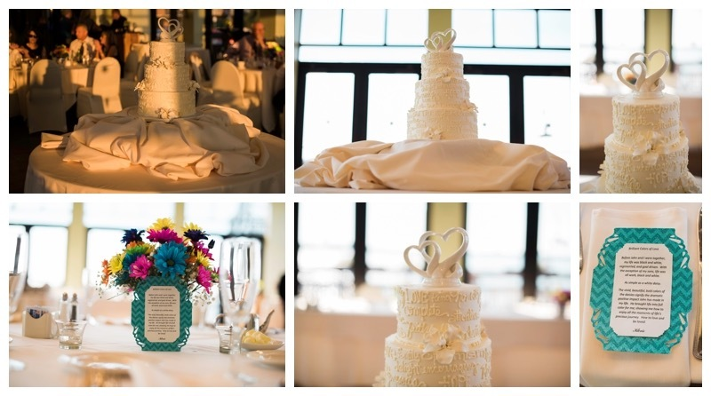 Wedding Cake and table center pieces.