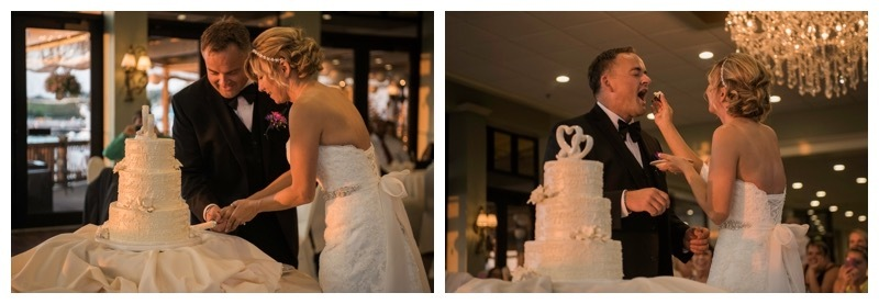 Wedding cake cutting.