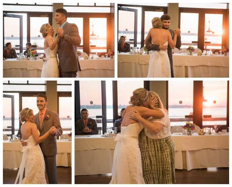 Bride dances with sons and friend.