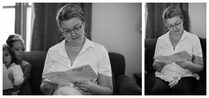 A bride reads her future husbands letter to her.