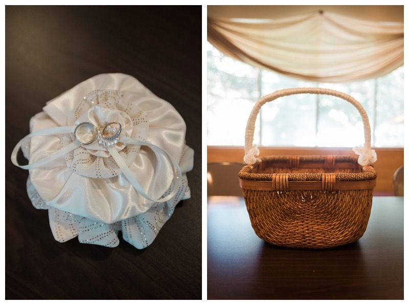 The ring bearer pillow and bubble basket for a buffalo wedding.