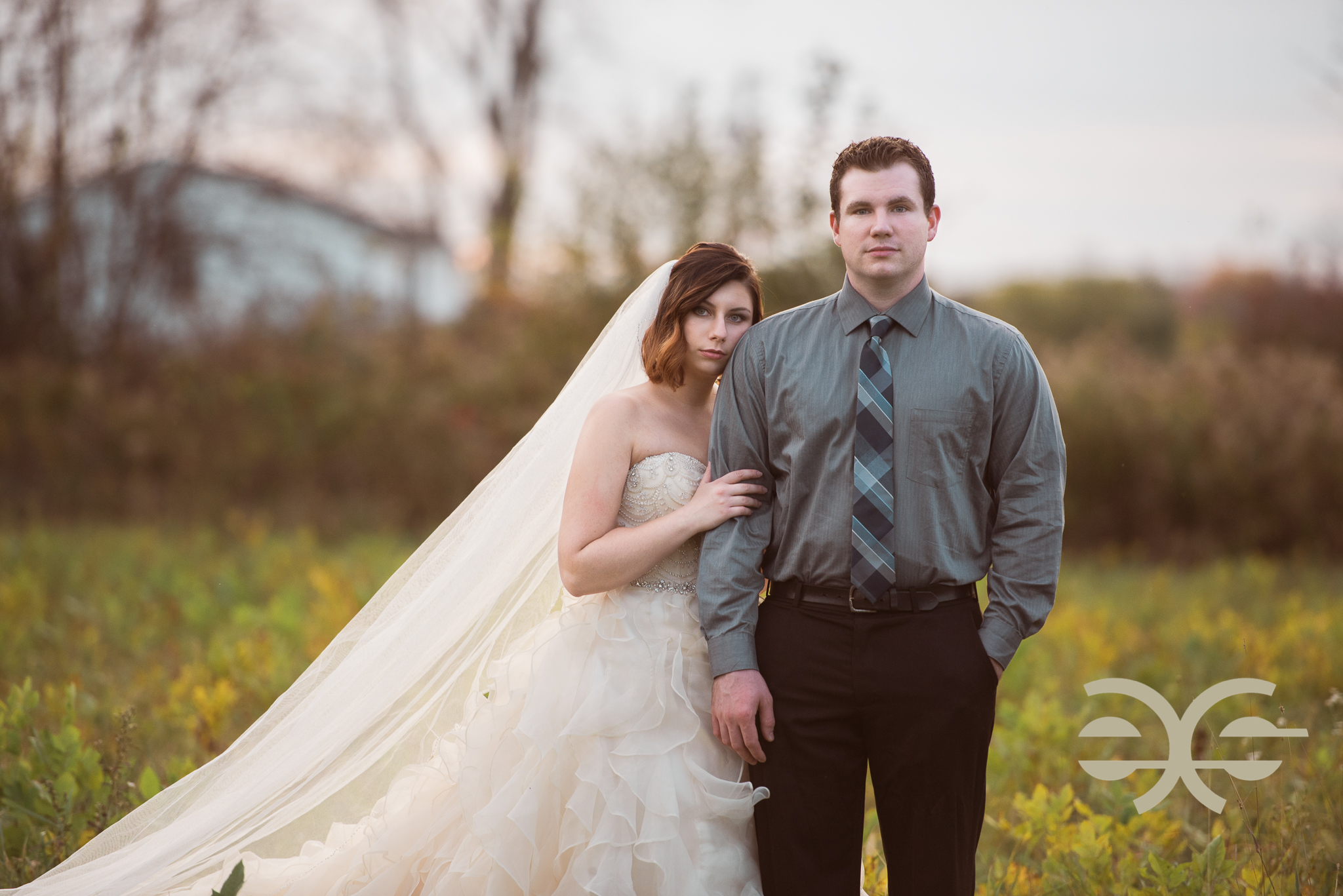 A bride and groom on their wedding day in Buffalo, NY