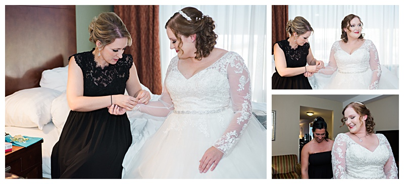 Bride gets ready for her wedding day in Buffalo, NY