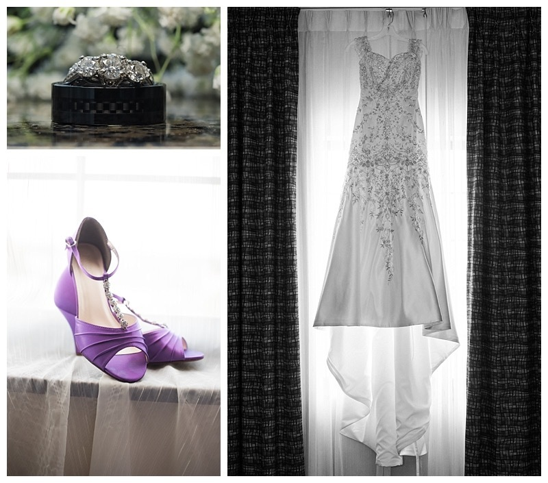 Bridal gown, wedding bands, and bridal shoes.