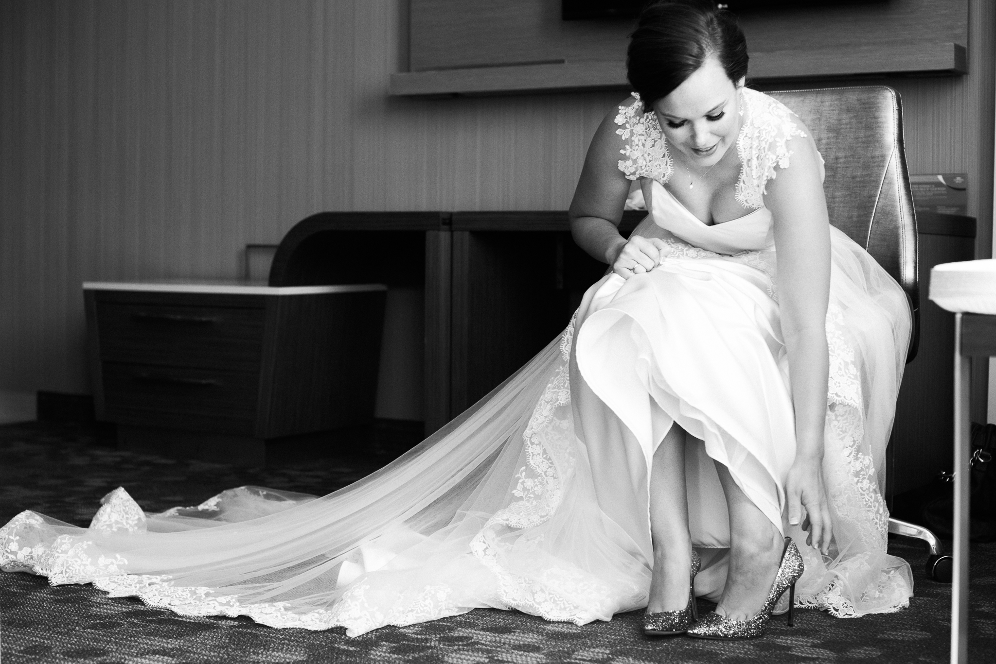 A bride gets ready for her wedding day