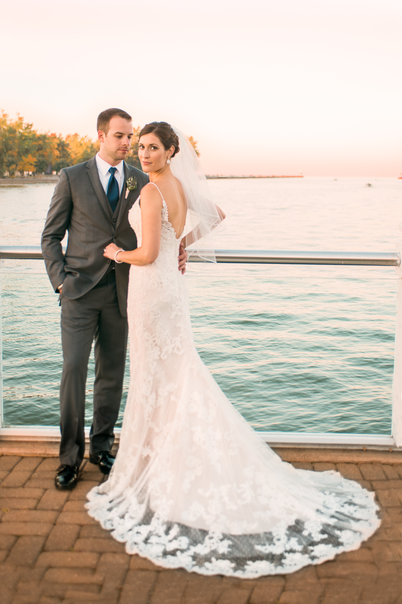 Bride and Groom at Rochester Yacht Club